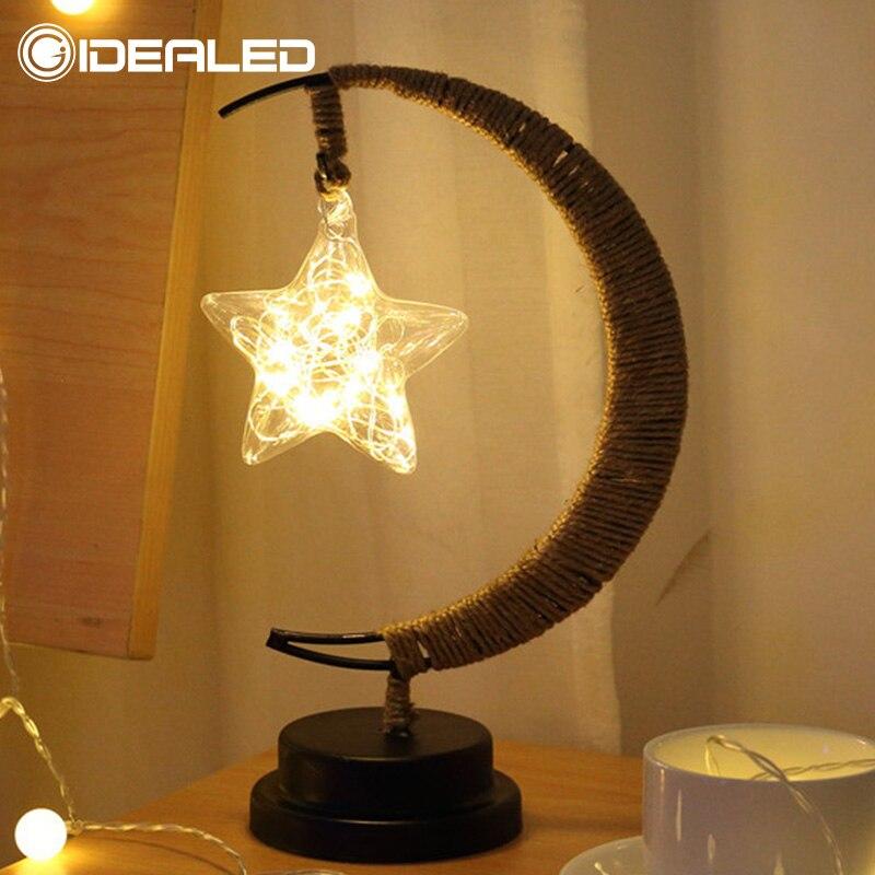 Led Lamp Stars Moon Light Rattan Ball Christmas Lights Children Birthday Gift Handmade Hemp Rope USB Wrought Iron Night Light