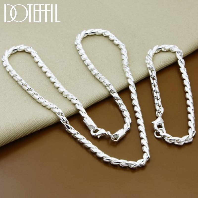 Venta caliente 925 collar de plata Pulsera conjuntos de joyas de moda Simple conjunto de pulsera de Collar de plata para las mujeres