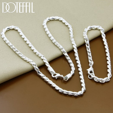 DOTEFFIL 925 Sterling Silver Twist Around Chain Necklace Bracelet Jewelry Sets For Women Wedding Engagement Party Gift