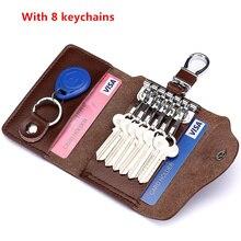 Bags Waist Car-Key-Case Buckle Hanging-Cowhide Zipper Multifunctional Korean Men's