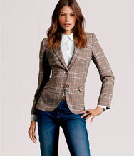 British Style Women Blazer & Suits Slim Classic Wild Small Plaid Jacket Patch Elbow Small Suit Women's Clothing(China)