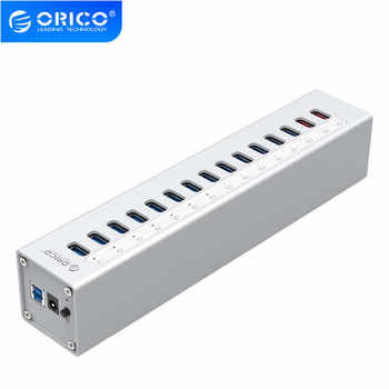 ORICO A3H13P2 Aluminum 13 Ports USB3.0 HUB with 2 Charging Ports 5V2.4A Super Charger / 5V1A Universal -Silver - DISCOUNT ITEM  38 OFF Computer & Office
