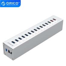 ORICO HUB usb 3,0 A3H13P2 de aluminio, 13 puertos con 2 puertos de carga, supercargador 5V2.4A/5V1A Universal plateado