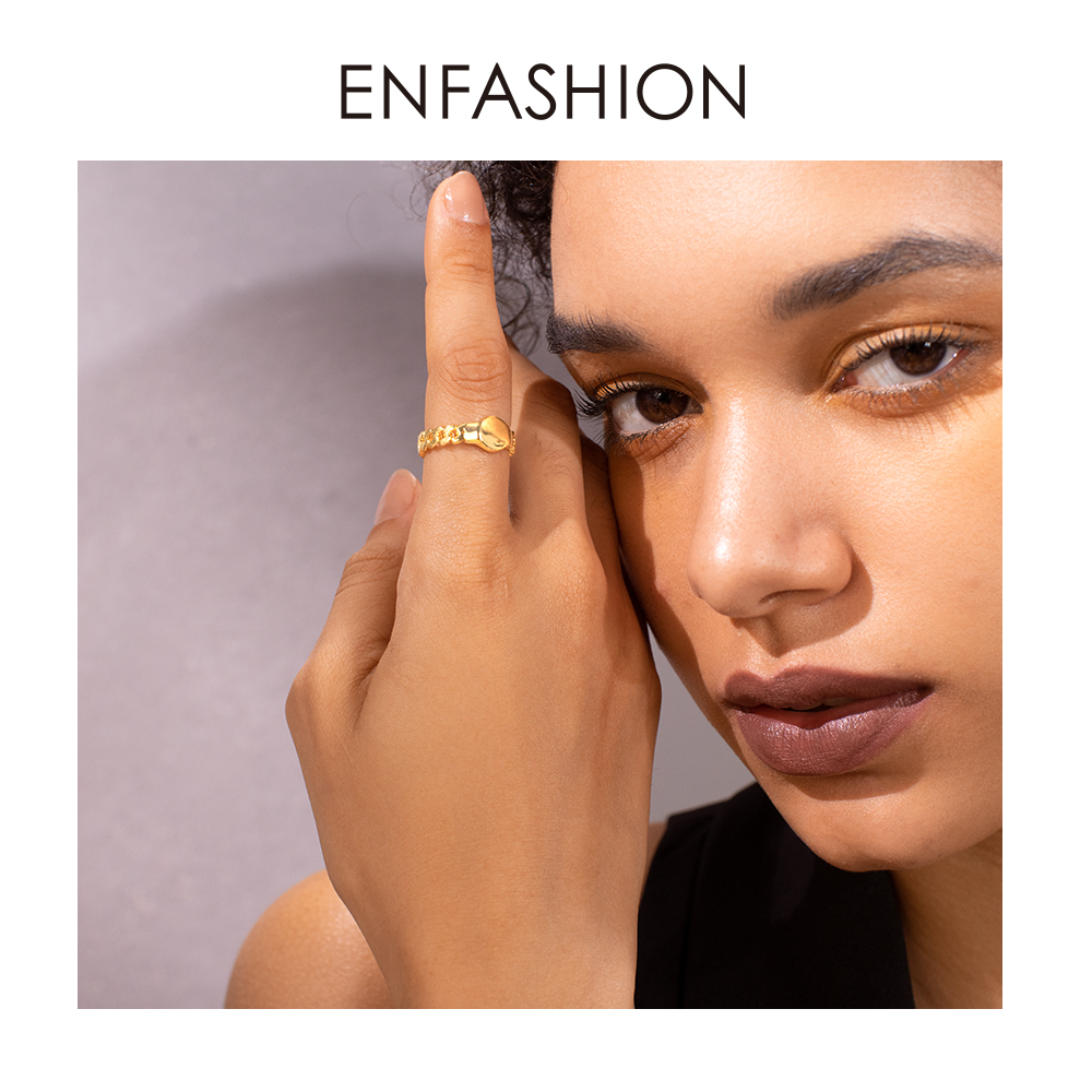 ENFASHION Punk Link Chain Platform Ring Men Gold Color Lady Finger Rings For Women Fashion Jewelry Gifts Anillos Mujer R194025