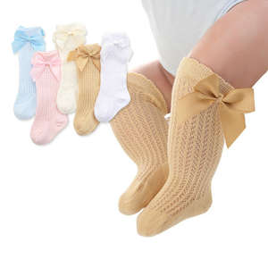 Leg-Warmer Socks Tights Ribbon-Bow Toddlers Girls Baby Infants Boys Kids Knee-High Cotton