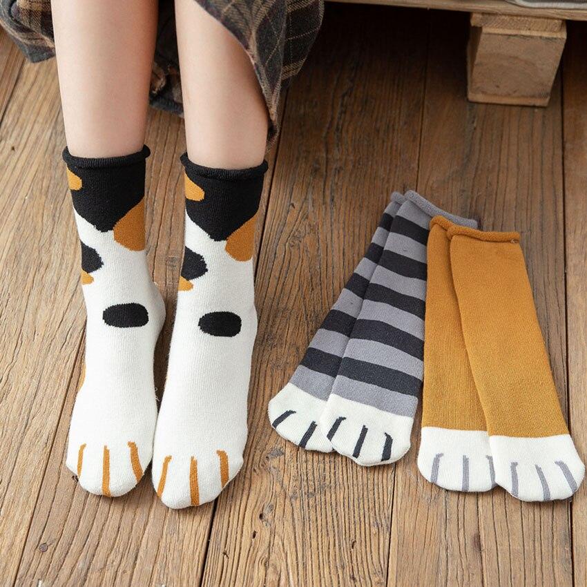 Новинка 2021, осенне-зимние носки из хлопка с мультяшным рисунком кошачьей лапы, женские носки, Забавный милый стиль, рождественский подарок, ...