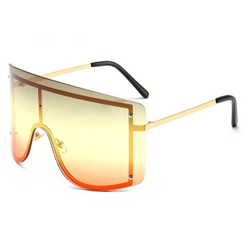 Oversized Women Blue Yellow Gradient Sunglasses Fashion Rimless Metal Female Shades Luxury Brand Designer Personality Eyewear 14