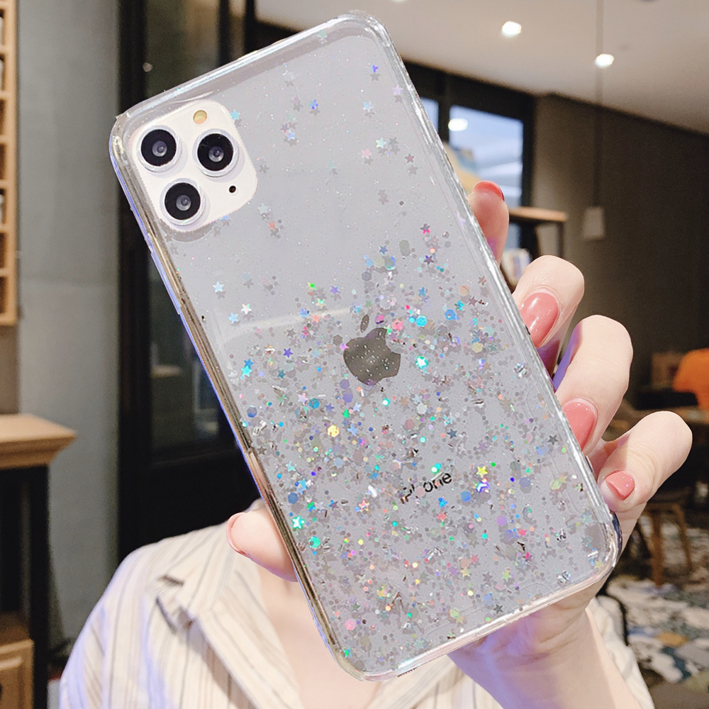 H415cb97f27574e2a96d8c342c2e3aa56z - Solid quicks Case For iphone 11 8 7 Plus 6 6s Glitter Bling Sequins Epoxy Star Case For iphone 11 Pro MAX X XR XS Soft TPU Cover