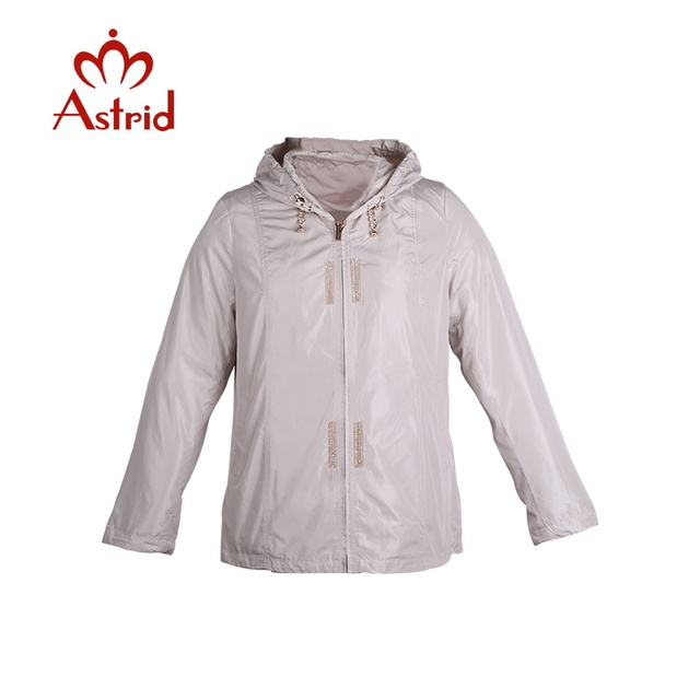 Astrid women's windbreaker large Jackets spring Hooded Outwear Short Slim Windbreaker Jacket Coat l