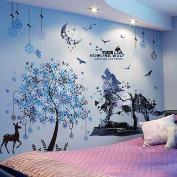 Shijuekongjian, pegatinas de pared de árbol con Lobo en el bosque, adhesivos murales de animales de venado DIY para casa, habitación de niños, decoración de habitación de bebé y guardería