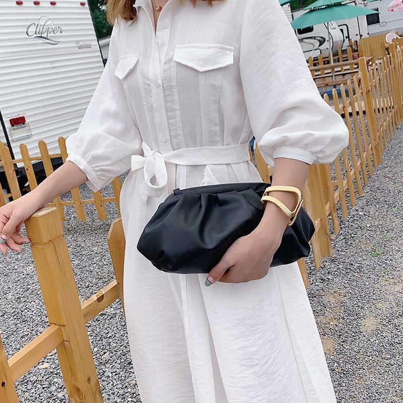Bolsos cruzados en nube elegantes de Color liso para mujer, bolsos y monederos femeninos pequeños de PU 2020, bolsas de mensajero de hombro para mujer