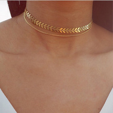 Fashion Double Layer Women Ethnic Short Choker Necklace Elegant Jewelry Sequin Fish Bone Shape