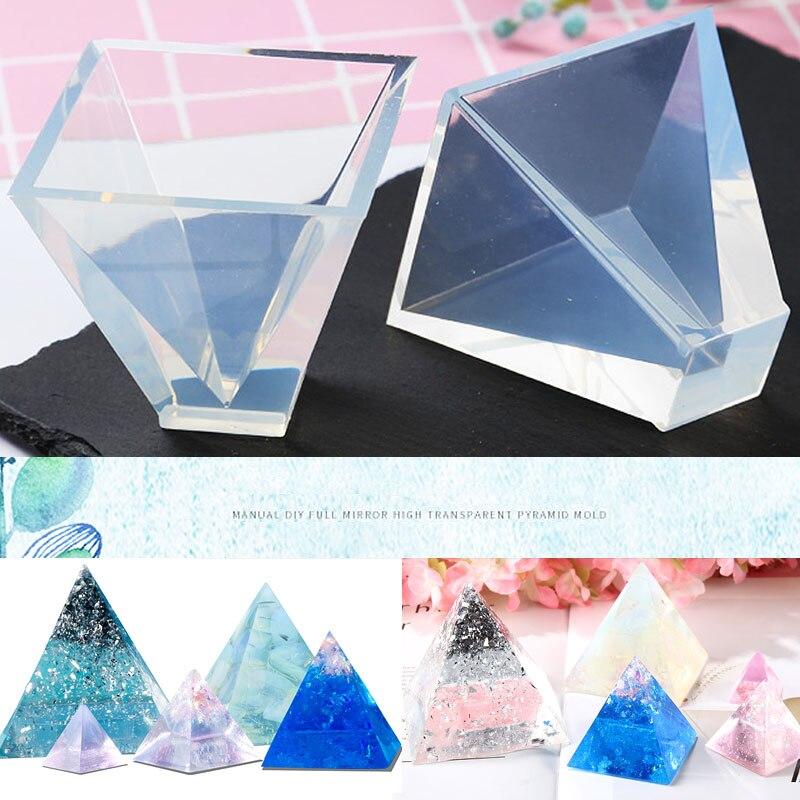 20/30/40/50mm şeffaf piramit silikon kalıpları DIY reçine dekoratif el sanatları takı yapımı kalıp reçine kalıpları için
