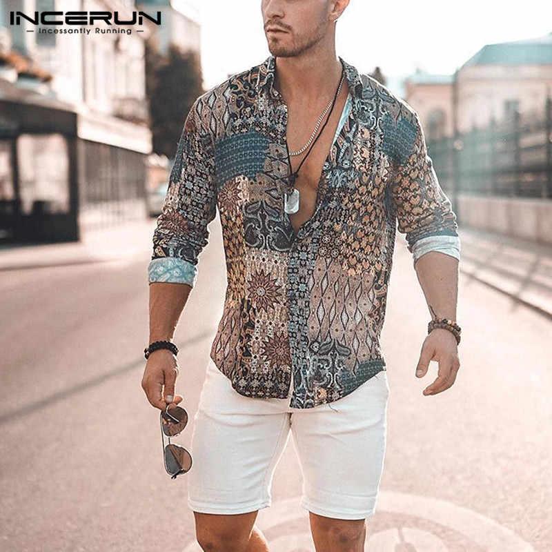 INCERUN Druck Männer T-shirt Langarm Vintage Ethnische Stil High Street Strand Camisa Chic Atmungsaktive Hawaiian Männer Marke Shirts 2020