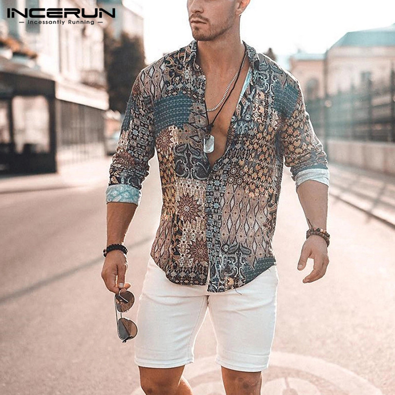 INCERUN Print Men Shirt Long Sleeve Vintage Ethnic Style High Street Beach Camisa Chic Breathable Hawaiian Men Brand Shirts 2019