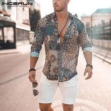 INCERUN Print Men Shirt Long Sleeve Vintage Ethnic Style High Street Beach Camisa Chic Breathable Hawaiian Men Brand Shirts 2021