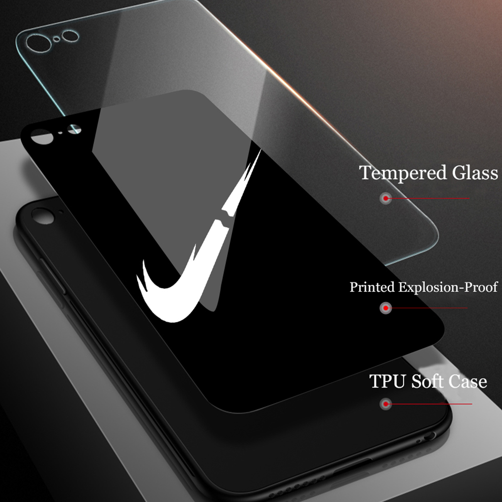 Tempered glass case Fashion luxury Sports Brand Phone Case For Samsung Note8 9 10 S8 S9 S10 S10lite S10plus A20 Phone Case Cover