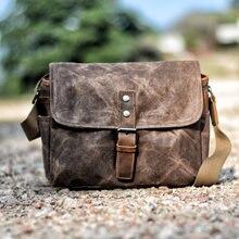 MUCHUAN – sac à bandoulière en cuir pour hommes, Vintage, toile de cire d'huile, résistant aux chocs, sac pour appareil photo DSLR, sac étanche en toile russe