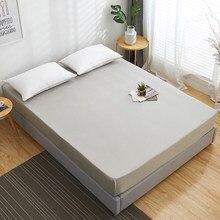 1Pc 100% bawełniane dopasowane arkusz jednokolorowa do łóżka arkusz kolor dookoła elastyczna gumka pokrycie materaca Queen King arkusze 140x200