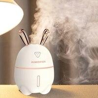 Mini umidificador de ar  difusor de aroma essencial colorido  300ml  usb  coelho fofo  luz de led  produtor de vapor para carro escritório