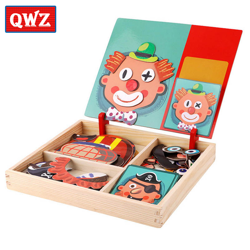 QWZ Multifunctional Wooden Magnetic Puzzle Toys Figure/Animals/ Vehicle /House Drawing Board Wood Educational Toys For Children