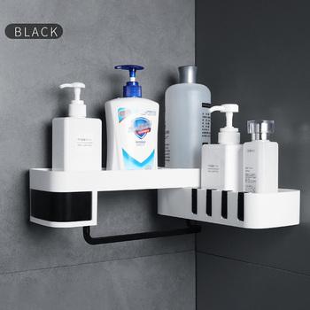 1 sztuk rogu półka po prysznic łazienka szampon półka po prysznic uchwyt kuchnia bez paznokci stojak do przechowywania organizator uchwyt montowany na ścianie tanie i dobre opinie Podwójny tier Typ ścienny Shower Shelf Z tworzywa sztucznego Other