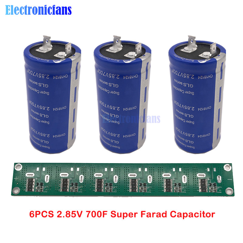 6PCS 2.85V 700F 35*72mm Flat Feet Super Farad Capacitor Low ESR Super Capacitor For Car Solderless With Balance Protection Board