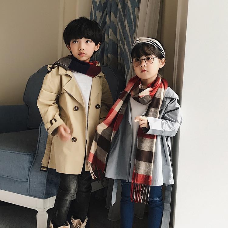 2019-Autumn And Winter CHILDREN'S Scarf Plaid Faux Cashmere BOY'S Girls CHILDREN'S Scarf Baby Fashion Warm Scarf