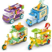 Mini City Street Toy Shop Building Block gelato Burger Car mattoni fai-da-te giocattoli educativi per bambini City Street View regalo per bambini