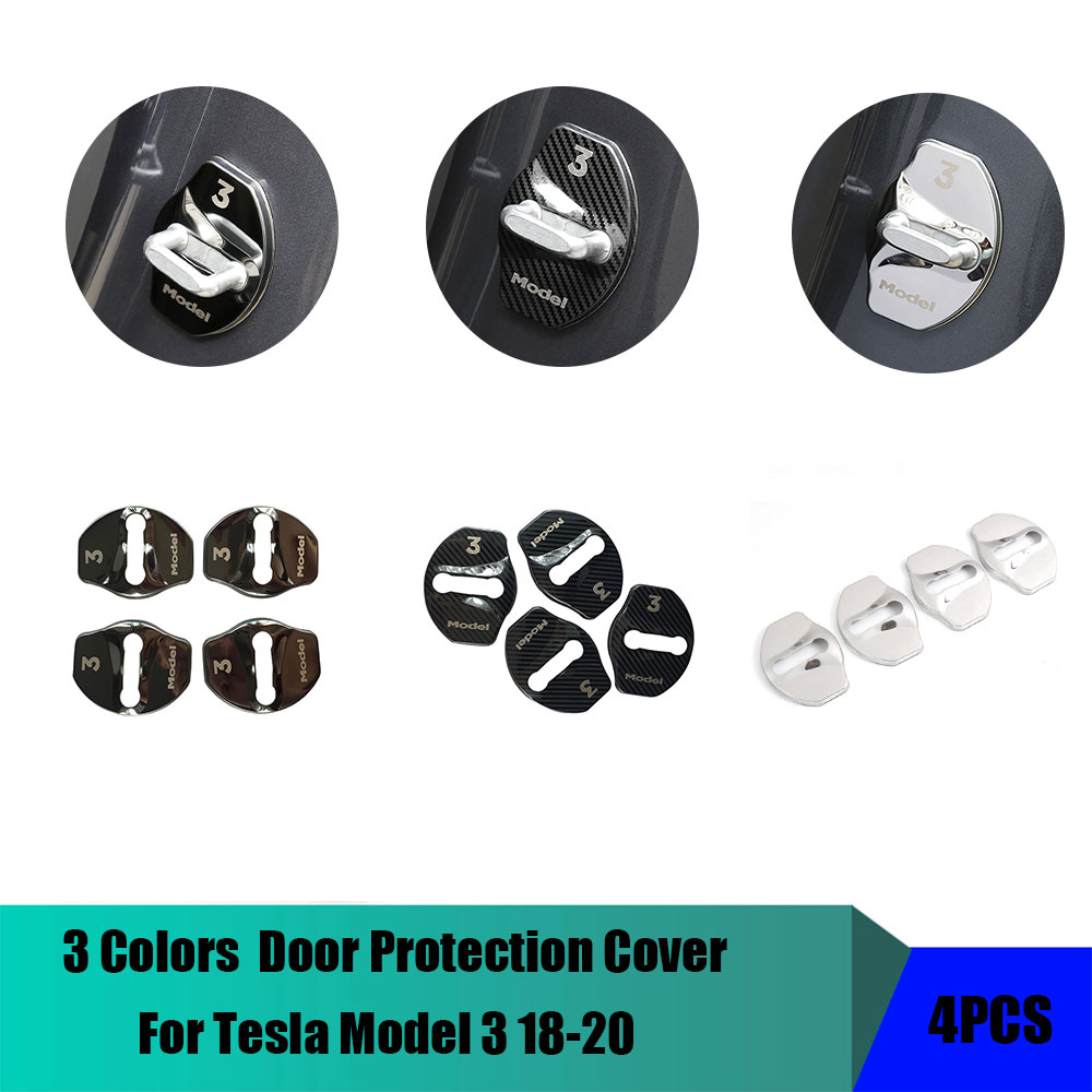 For Tesla Model 3 18-20 Car Door Lock  3M Sticker Protection Cover Trim 4Pcs