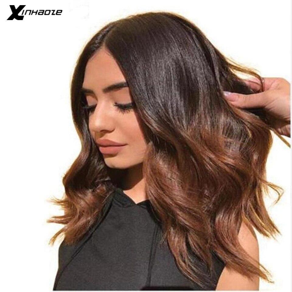Parte profunda ombre perucas da parte dianteira do laço peruca de cabelo humano curto com cabelo do bebê 1b/brown destaques cor ondulado 13x 4/13x6 bob perucas remy cabelo