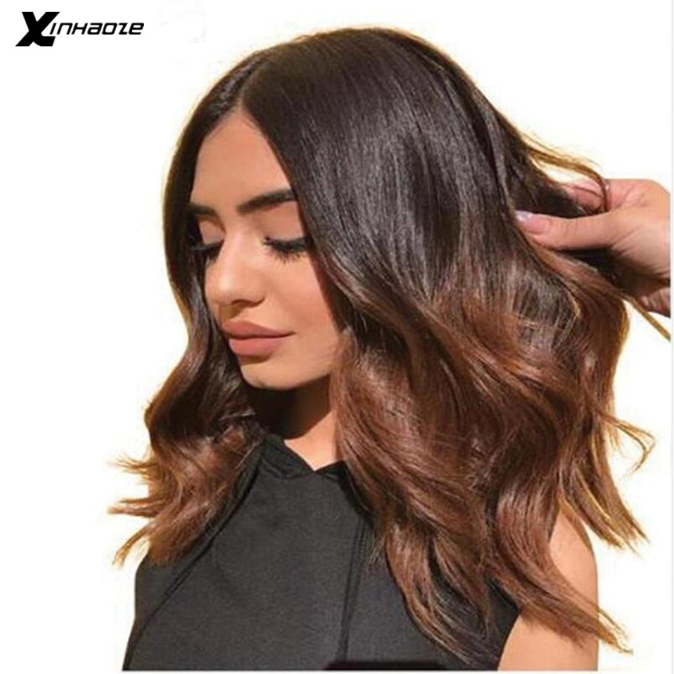 Deep Part Ombre Lace Front Wigs Short Human Hair Wig With Baby Hair 1b/Brown Highlights Color Wavy 13x4/13x6 Bob Wigs Remy Hair