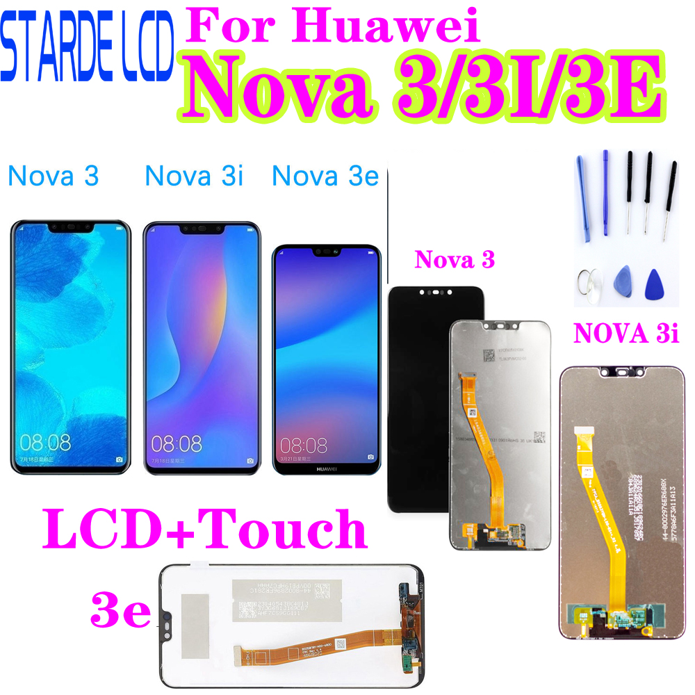 For Huawei Nova 3 LCD Display Touch Screen PAR LX1 LX9 Nova 3i LCD INE LX2 L21 Nova 3e Display ANE LX3 L23 Screen Nova3 Replace