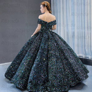 Image 4 - Dubai Green Red Gold Blue Lace Up Sequined Prom Dresses 2020 Sweetheart Sexy Luxury Bridal Gowns