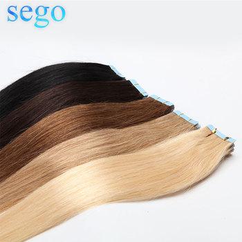 SEGO 12 #8222 -24 #8221 2 5 g sztuka 20 sztuk prosto taśma w doczepy z ludzkich włosów nie remy klej niewidoczne PU bez szwu skóry wątek włosy blond tanie i dobre opinie Nie remy włosy 12 -24 10p 20p 2 5g pc Darker Color Only Piano and Pure Color