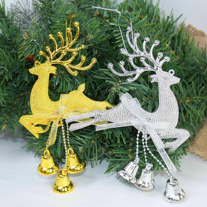 1 шт. золотой, серебряный олень из ПВХ, лось, фотоэлемент, милый олень с колокольчиком, сделай сам, Рождественский Декор, детский подарок, Рожд...