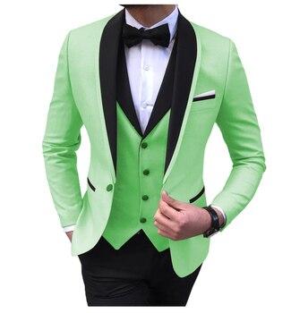 Blue Slit Mens Suits 3 Piece Black Shawl Lapel Casual Tuxedos for Wedding Groomsmen Suits Men 2020 (Blazer+Vest+Pant) 15