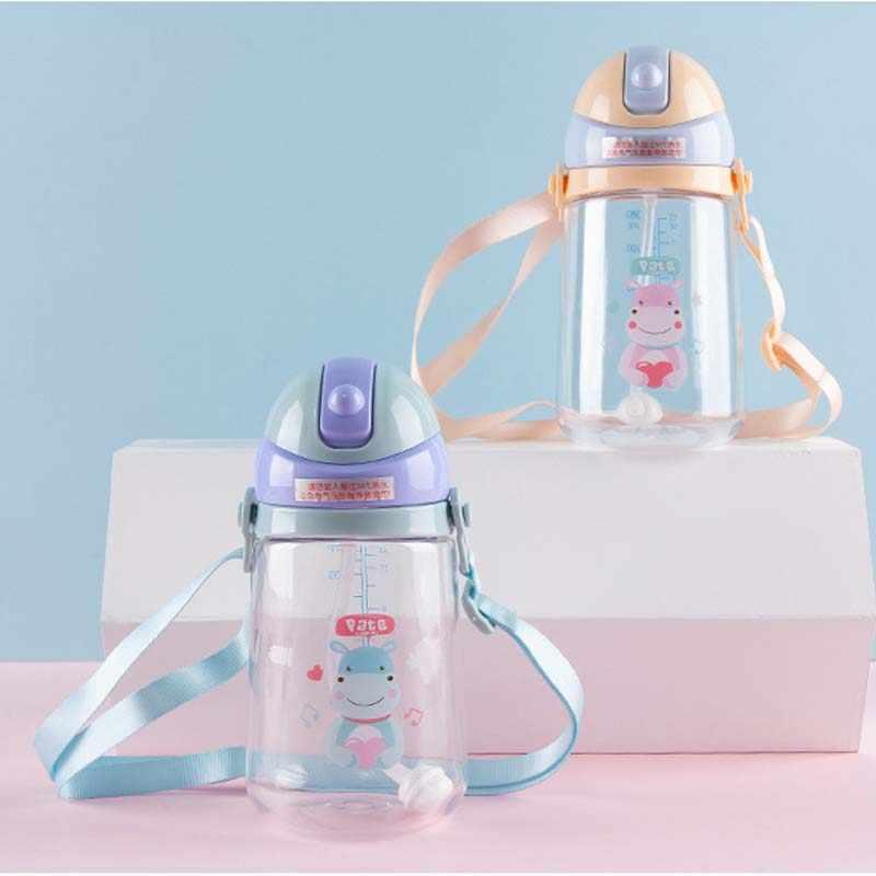 Venta caliente tazas de bebé Durable portátil niños taza de paja botella de agua con cuerda recién nacido alimentación taza de beber hervidor para bebé