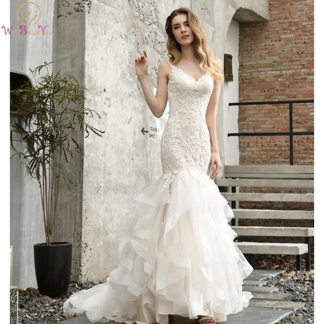 Fleepmart Ruffles Mermaid Wedding Dresses Champagne Ivory Deep V