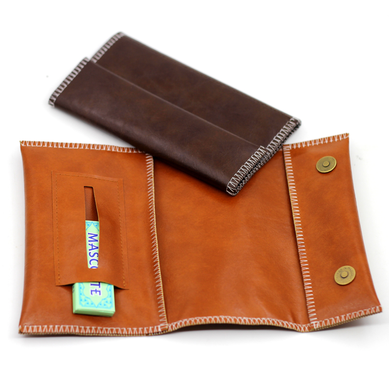 New 1pcs -PU Leather Tobacco Bag Portable Cigarette Rolling Pipe Tobacco Pouch Case Wallet Tip Paper Holder