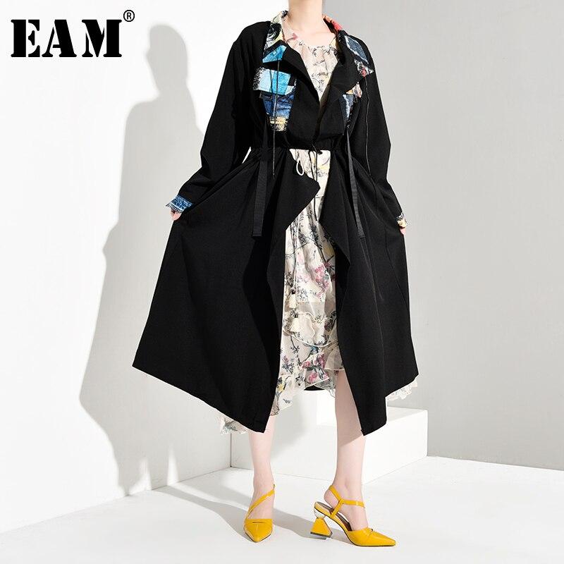 [EAM] Women Back Pattern Print Big Size Trench New Lapel Long Sleeve Loose Fit Windbreaker Fashion Tide Autumn Winter 2019 1B055