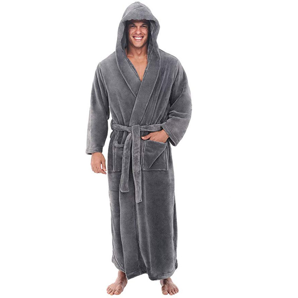 Mens Bathrobe Coat Shawl Hooded Long-Sleeved Home-Wear Plush Male Winter Casual Lengthened title=