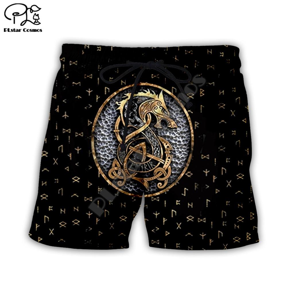 PLstar Cosmos 2020 Summer Short Viking Tattoo Long 3D All Ove Prined Trousers Women For Men Beach Casual Shorts Dropshipping