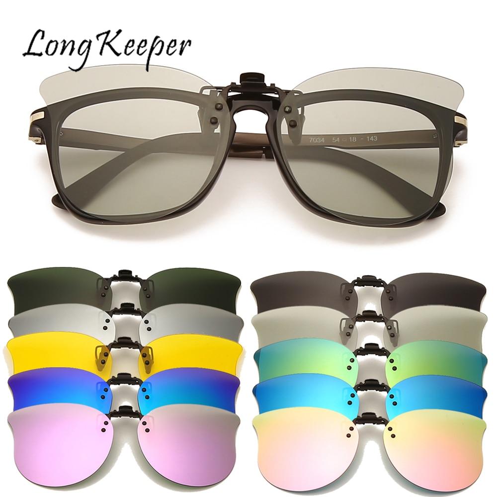 LongKeeper Polarized Sunglasses Men Clip On Sunglasses Eyewear Accessories Photochromic Driving Goggles Women Cat Eye Glasses UV