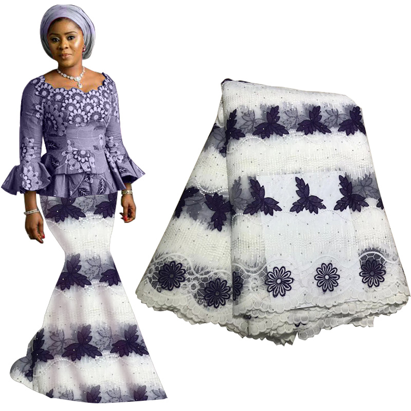 High Quality African Lace Fabric 2019 Nigerian Lace Swiss Voile Lace Fabric In Switzerland With Beads Tassel For Wedding Dress
