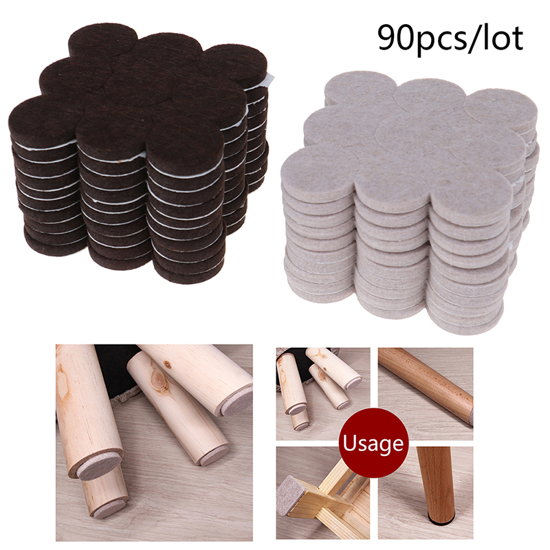 90pcs/10sheets Felt Chair Leg Pads Floor Protectors For Furniture Legs Table Leg Covers Round Bottom Anti-Slip Pads 2.7cm