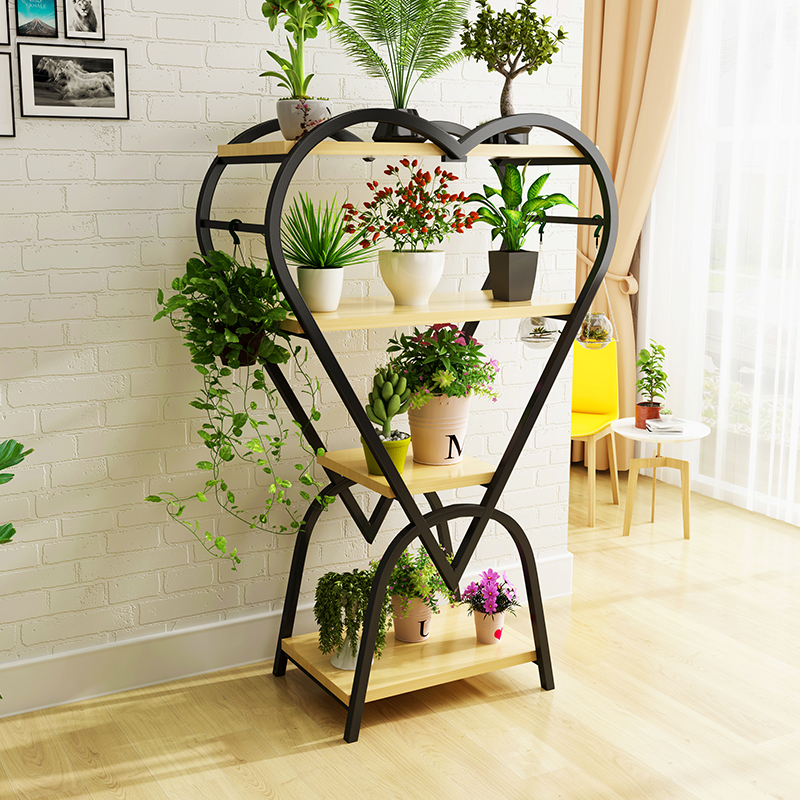 Solid Wood Flower Stand Balcony Multi-layer Rack Wrought Iron Interior Decoration Green Lollo Meat Heart-shaped Flower Table