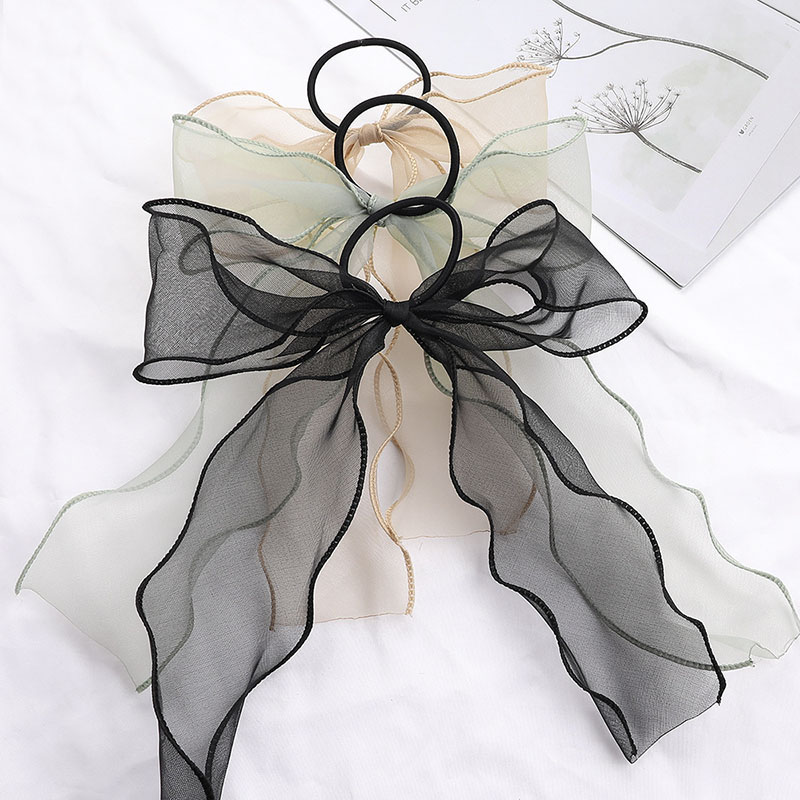 Sweet Big Bow Organza Streamers Hair Scrunchies Soft Ponytail Elastic Hair Ties Rope Girls Hair Accessories Women Ribbon Bands