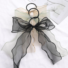 Sweet Big Bow Organza Streamers Hair Scrunchies Soft Ponytail Elastic Hair Ties Rope Girls Hair Accessories Women Ribbon Bands