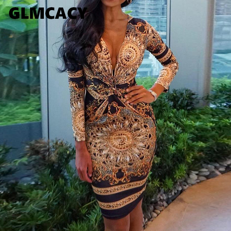 Women Ethnic Print Plunge Twist Front Long Sleeve <font><b>Dress</b></font> <font><b>Sexy</b></font> <font><b>V</b></font> Neck Club Party <font><b>Dress</b></font> Fashion Bodycon Vestidos Mujer image